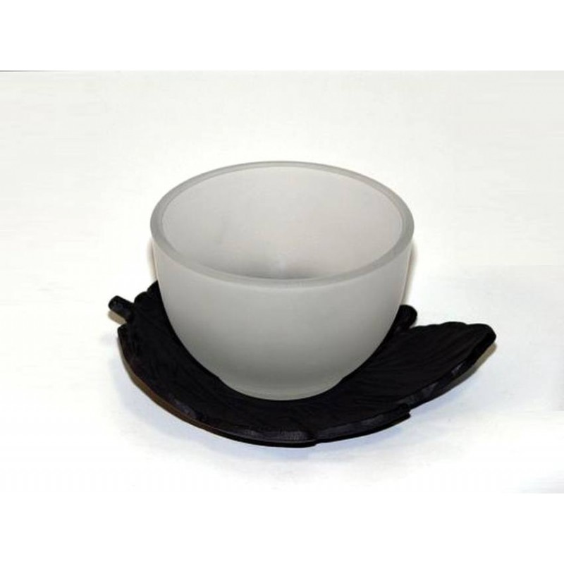 Skleněný šálek a kovový podšálek na čaj - 'List'