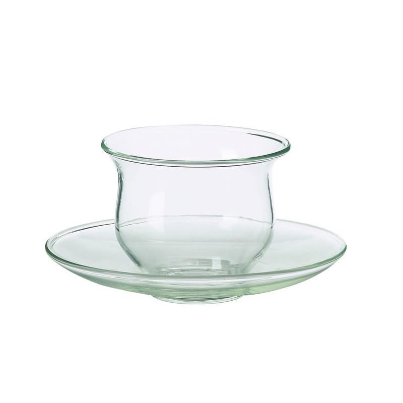 Skleněný šálek s podšálkem 0,15l