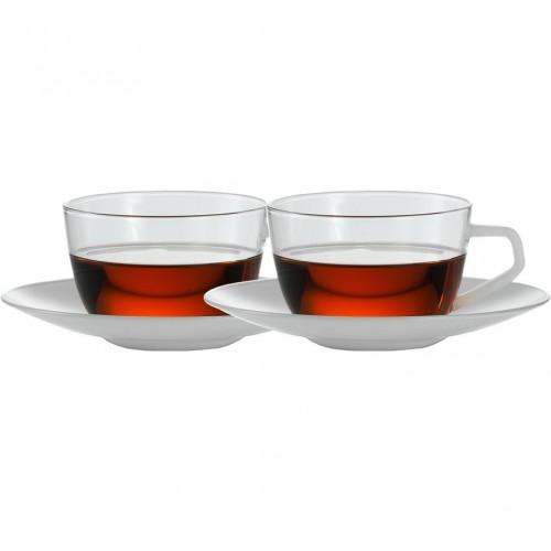 Skleněný šálek a podšálek 0,15l 'Assam'. Gourmet Tea – Jena. Sada 2 ks