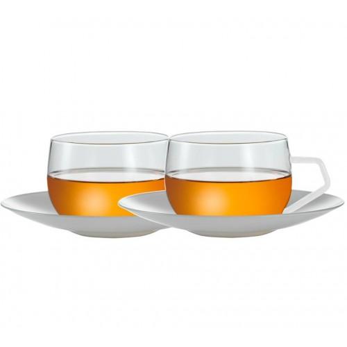 Skleněný šálek a podšálek 0,35l 'Chai'. Gourmet Tea – Sada 2 ks