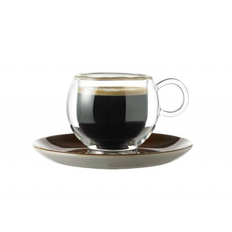 Skleněný šálek Randwyck 'Espresso' 0,08 l dvojitý s podšálkem