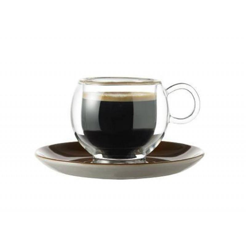 Skleněný šálek Randwyck 'Cappuccino' 0,25 l dvojitý s podšálkem